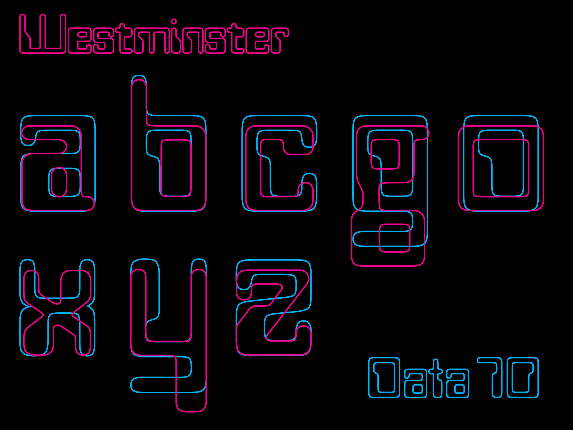 Westminster typeface Data 70 comparison
