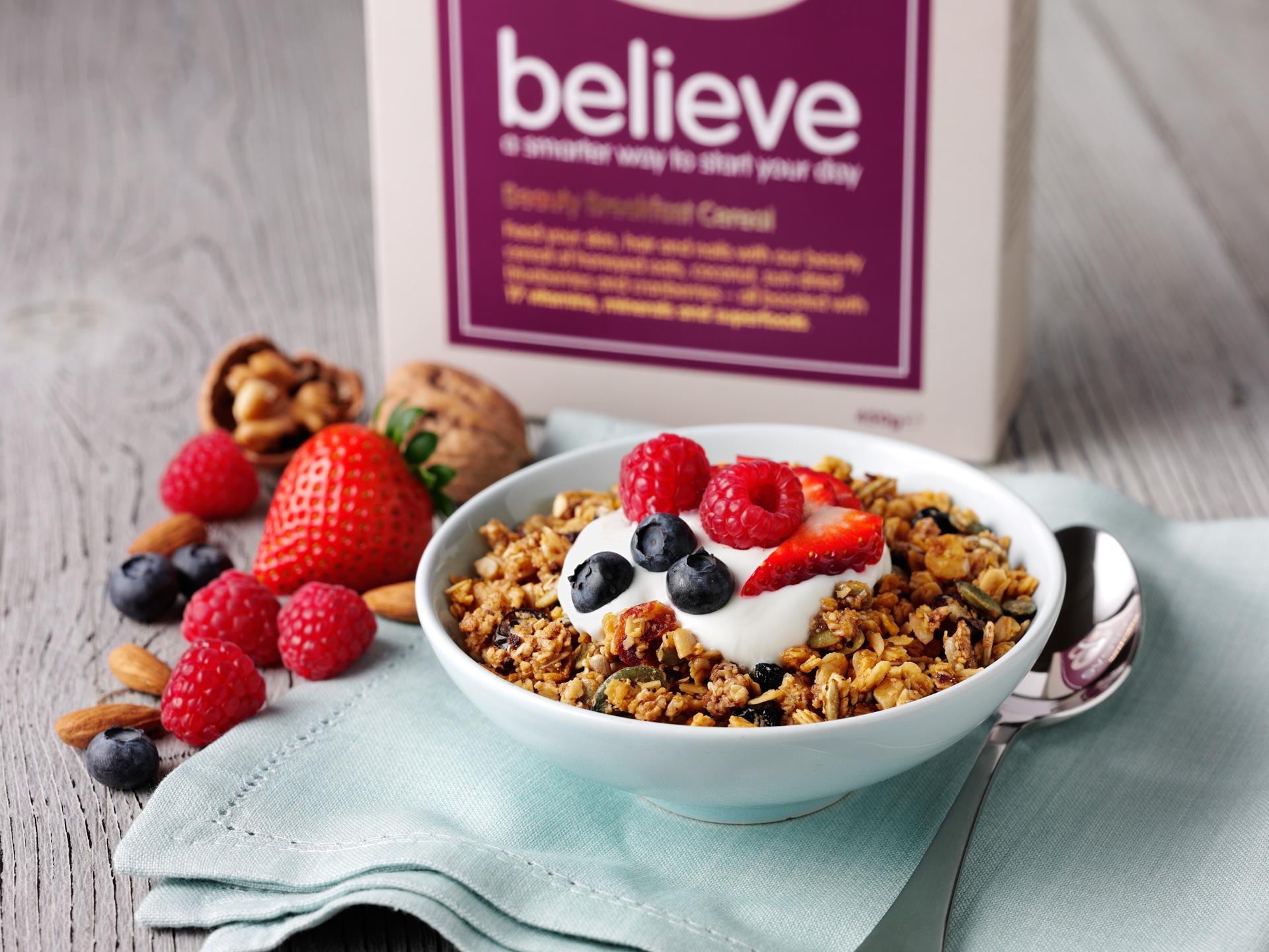 Packaging design for Believe Cereals