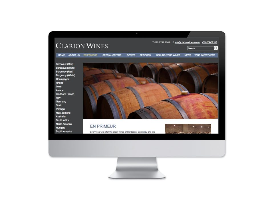 Clarion Wines Website <br>Design and Development