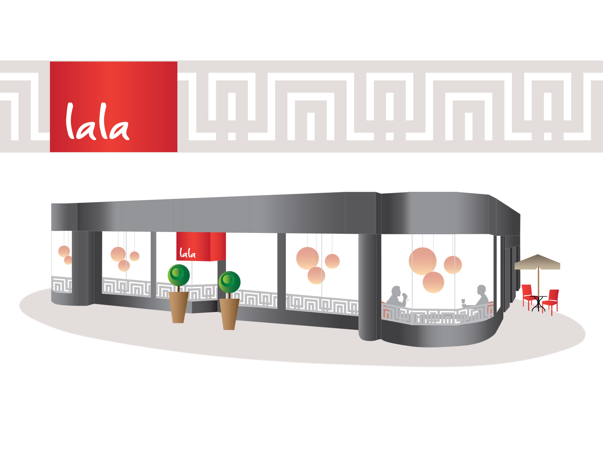LALA restaurant exterior identity