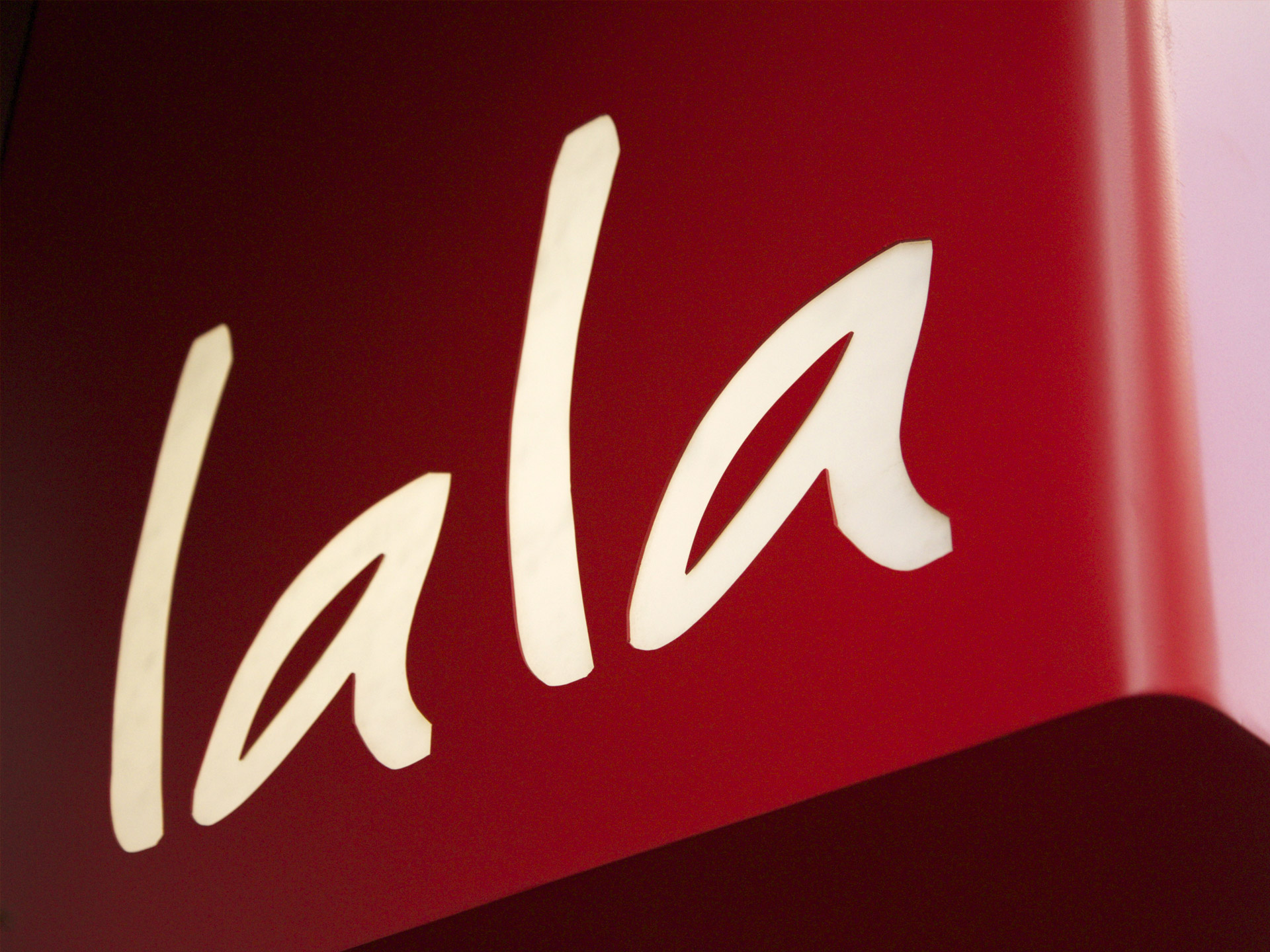 LALA identity restaurant sign